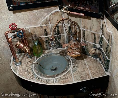 Hand Crafted Steampunk Sculpted Tile Sink And Vanity by