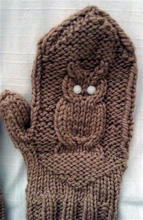 knitted owl pattern owl mittens knitting jewelry and clothes