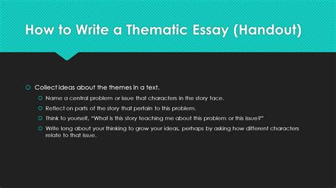 How To Write A Thematic Essay by The Literary Essay Argument Ppt