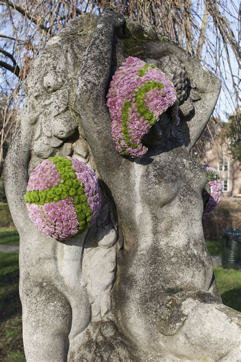geoffroy mottart public statues given new life with elaborate flower bouquets