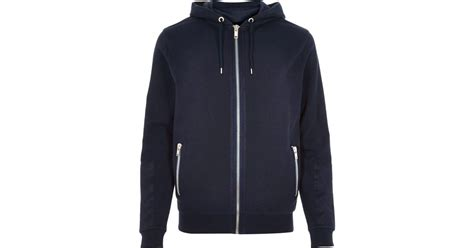 Sweater Patch Suede Leather Navy river island navy faux suede patch hoodie in blue for lyst