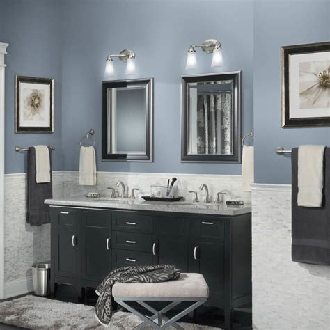Modern Bathroom Paint Colors Best Grayish Blue Paint Colors For Modern Bathroom With Black Cabinets And Vanity Lightings