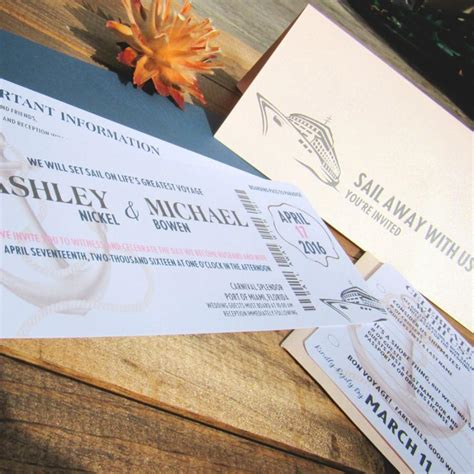 cruise wedding save the date announcement boarding pass wedding invitation sail away with us tick with cruise ship save the date for