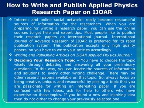 how to write paper for publication how to write and publish applied physics research paper on