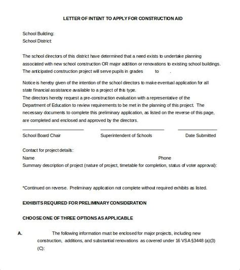 sample letter intent templates word