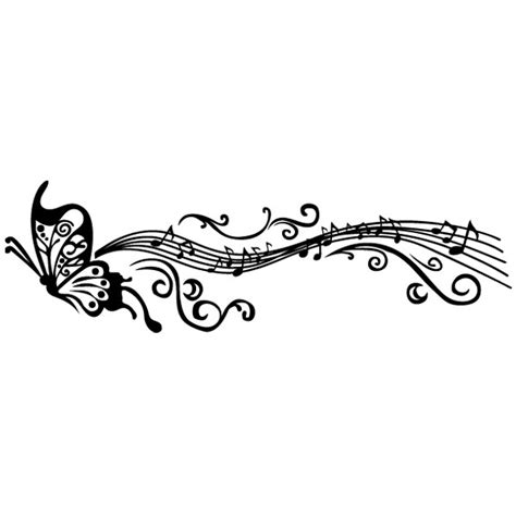 imagenes vintage de notas musicales pegatina decorativa pentagrama mariposa