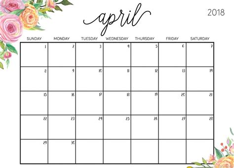 Editable April 2018 Calendar Calendar 2018 2018 Editable Calendar Template