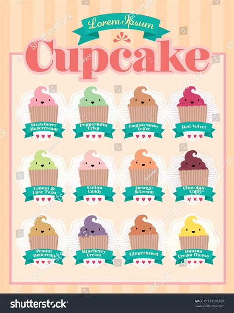cupcake menu template vectorillustration stock vector