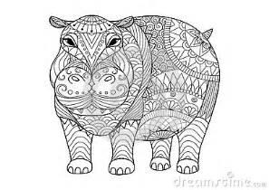 hand drawn zentangle hippopotamus coloring book tattoo shirt design