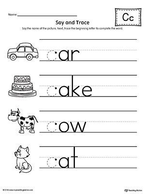letter c worksheets say and trace letter c beginning sound words worksheet 1357