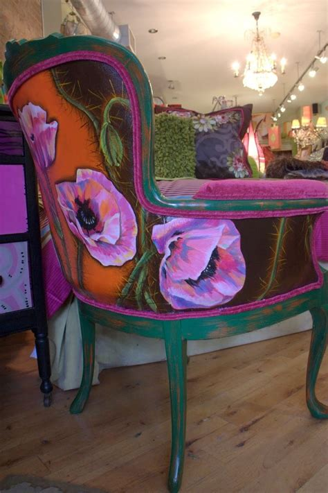 hand painted upholstery fabric hand crafted hand painted upholstered vintage arm chair