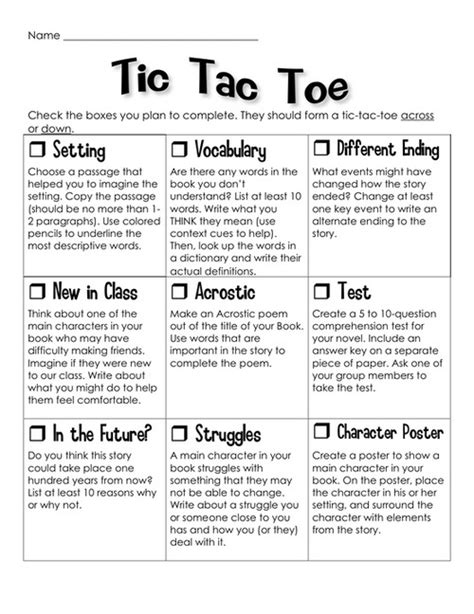 completed book reports novel study tic tac toe project great idea for