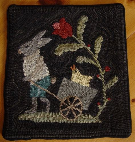 primitive hooked rugs primitive rabbit and easter bunny rug wool hooked rug hook