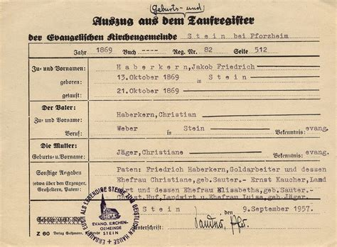 Germany Birth Records Cubbage Genealogy Church Record Sunday German Baptismal