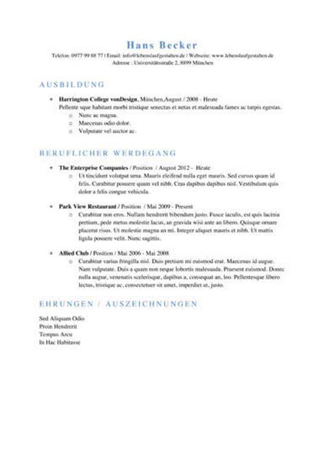 word zweiseitiges layout 66 einfache lebenslauf vorlagen lebenslaufgestalten