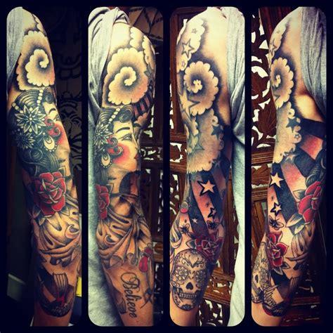 rose skull tattoo sleeves 28 colored sleeve tattoos