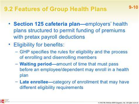 section 125 cafeteria plan rules survey of medical insurance pp ch09