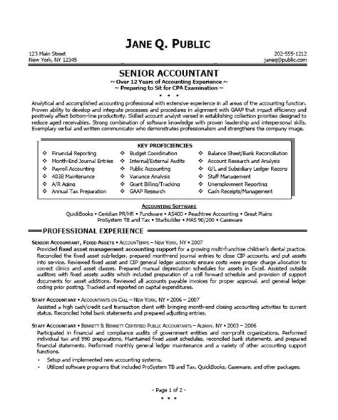 Senior Accountant Resume Exles by Resume Sle Professional Resume Sle