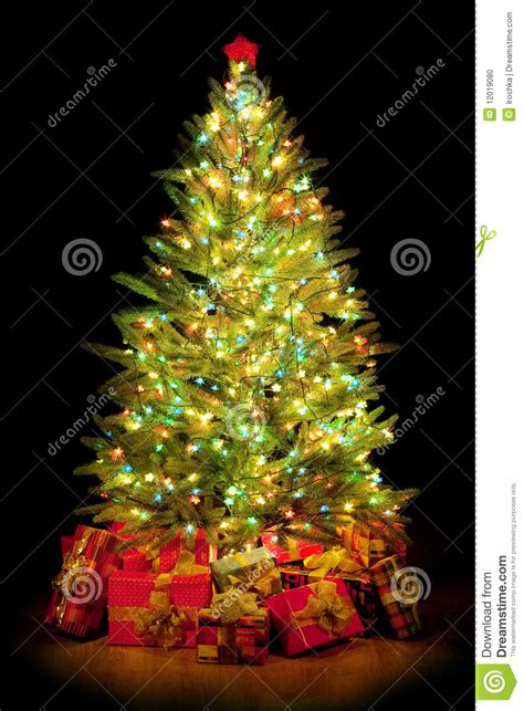 presents around christmas tree stock photo image 12019080