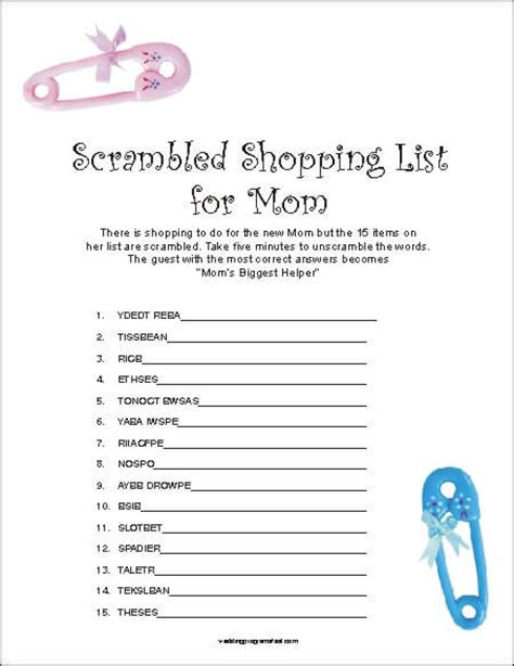 Free Printable Baby Shower Word Scramble by Free Printable Baby Shower Scramble Word Answers Baby
