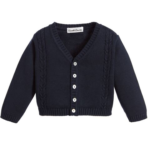 Louise Navy louise navy blue knitted baby cardigan childrensalon