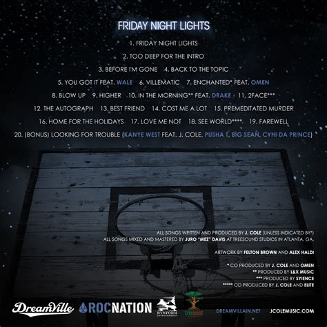 Friday Lights Mixtape by Podgeopedia Black And White Simple J Cole Friday Lights Mixtape