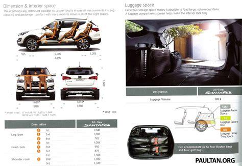 Hyundai Santa Fe Interior Dimensions hyundai santa fe launched in malaysia 2 4 petrol and 2 2