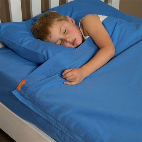 zipper bed introducing bright blue kids cotton sheets with zippers