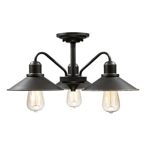 rustic semi flush mount lighting filament design niven 3 light bronze modern rustic semi