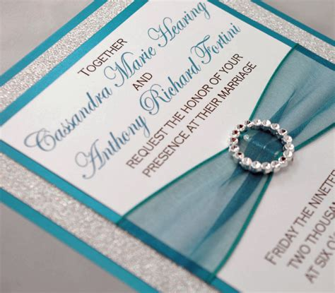 teal wedding invitation teal and silver glitter wedding invitation of by