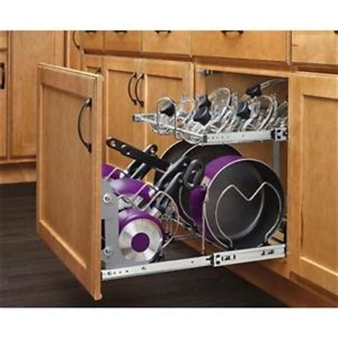 pot rack pan organizer pull out 2 tier metal cabinet