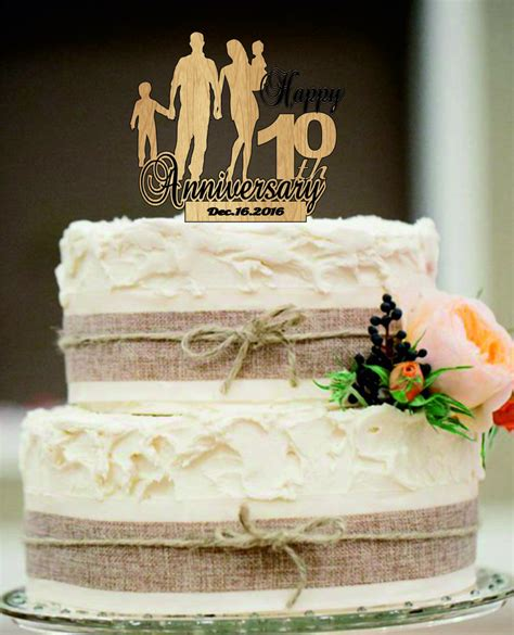 Wedding Cake Year Later by 10 Th Anniversary Cake Topper Personalized Rustic Wedding