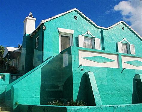 Spanish House turquoise colored house a photo from bermuda other
