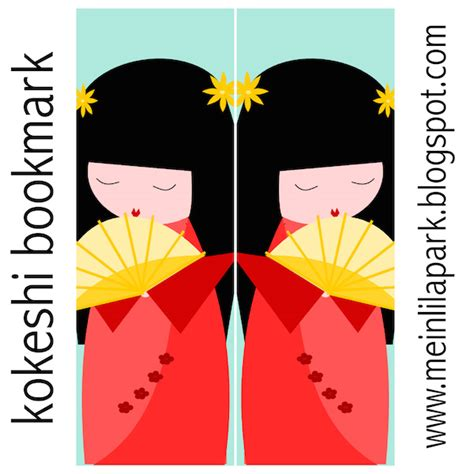 free printable japanese bookmarks meinlilapark free printable kokeshi bookmark