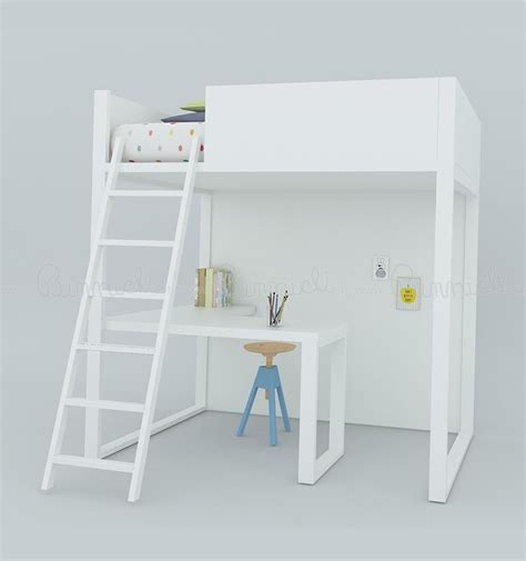 white loft bed with desk lagrama loft bed homage with desk white