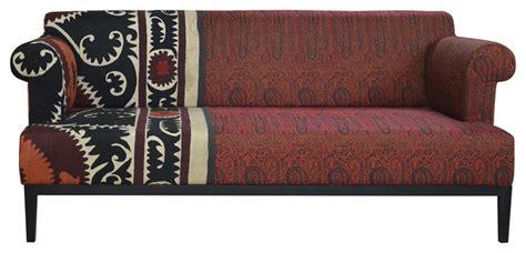 paisley print sofa vintage suzani red paisley global bazaar sofa