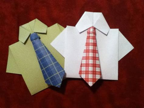 Origami Tie And Shirt - origami necktie and shirt card by sweetbloominscraps