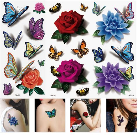 temporary rose tattoo aliexpress buy 3 sheets s 3d colorful