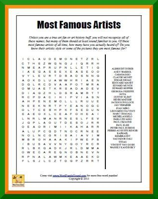 printable art word search most famous artists word search elements of art videos