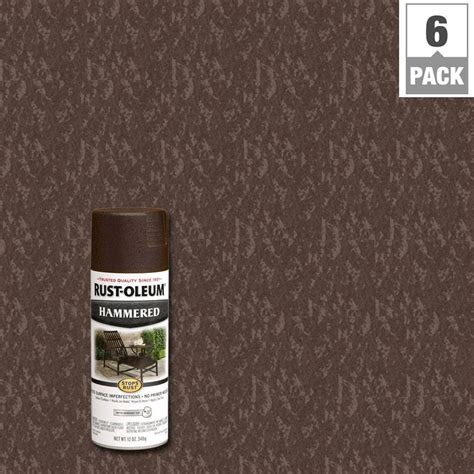 rust oleum stops rust 12 oz protective enamel hammered brown spray paint 6 pack 210880 the