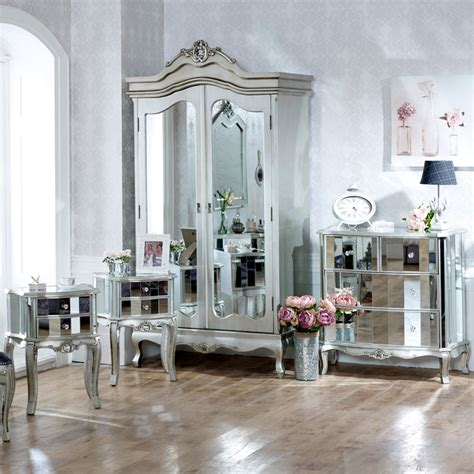 silver mirrored bedroom furniture mirrored furniture set wardrobe chest bedsides bedroom