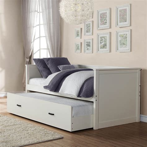 contemporary day bed homelegance clover daybed w trundle in white