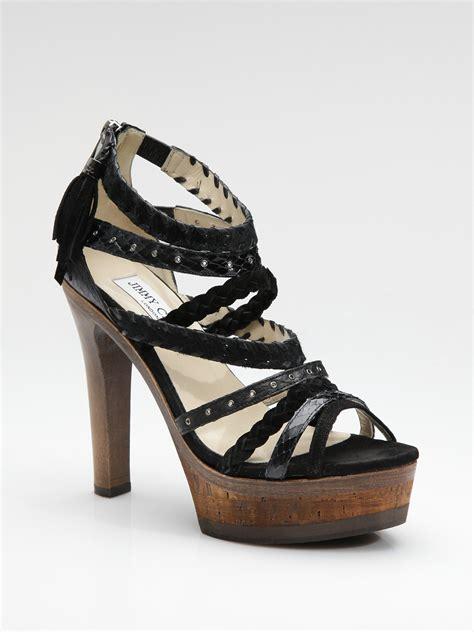 jimmy choo platform sandals jimmy choo vintage mixed media platform sandals in black