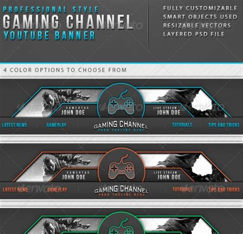 40 Youtube Banner Template Psd For Channel Art Texty Cafe Gaming Banner Template Psd