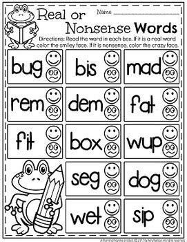 printable nonsense word games cvc words worksheets real or nonsense by planning