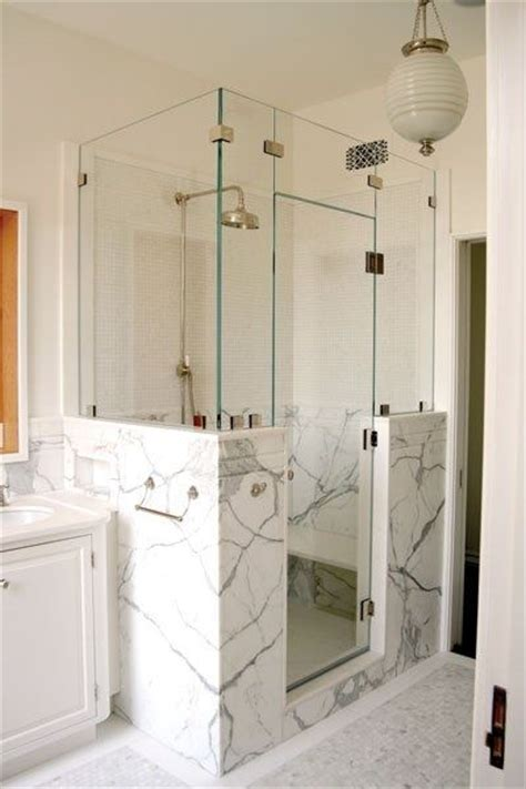 Glass Shower Doors And Walls Half Wall Shower Half Walls And Benches On Pinterest