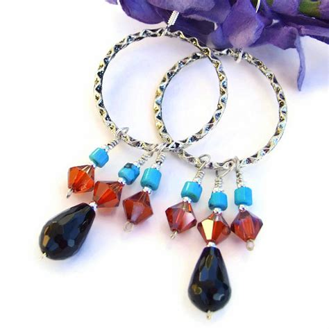Swarovski Handmade Jewelry - black onyx turquoise artisan hoop earrings swarovski