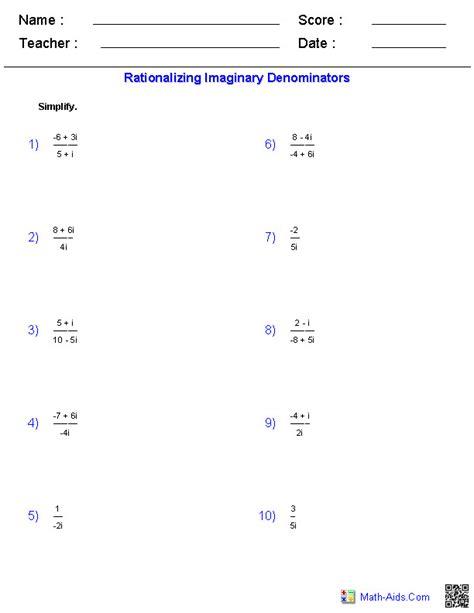 rationalizing denominators worksheet rationalizing the denominator worksheet
