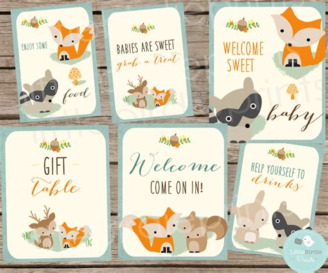 woodland baby shower woodland baby shower decorations signs woodland baby shower