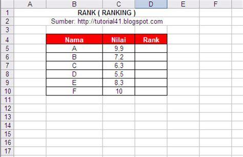 membuat ranking di excel membuat ranking menggunakan rank di microsoft excel